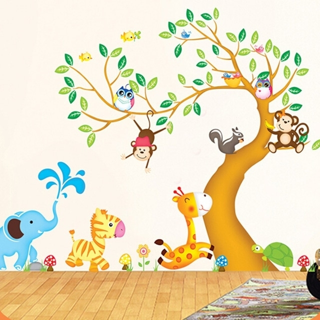 Children Wall Art With Best And Newest Large Animal Tree Nursery Wall Stickers For Kids Rooms Removable 3D (View 4 of 15)