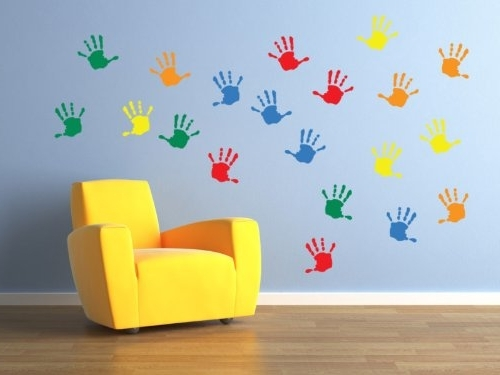 Children Wall Art With Famous Vinyl Concept – Children's Wall Stickers, Nursery Handprints Wall (View 2 of 15)