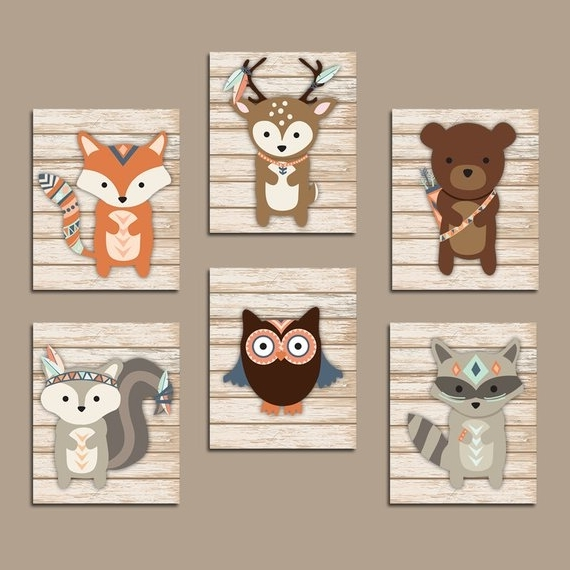 Childrens Wall Art Canvas Throughout Latest Tribal Nursery Wall Art Canvas Or Prints Whimsical Woodland (View 9 of 15)