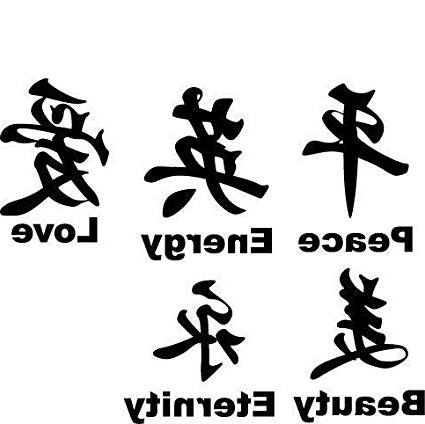 Chinese Symbol Wall Art Intended For Well Known Amazon: Vinyl Wall Art Decal Wall Art Chinese Symbol: Home (View 4 of 15)