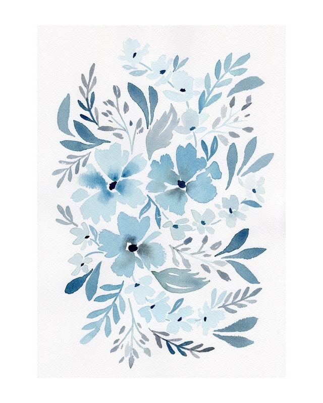 Chinoiserie Floral In Prussian Blue Wall Art Printsnatalie Malan Pertaining To Most Recently Released Chinoiserie Wall Art (View 5 of 15)