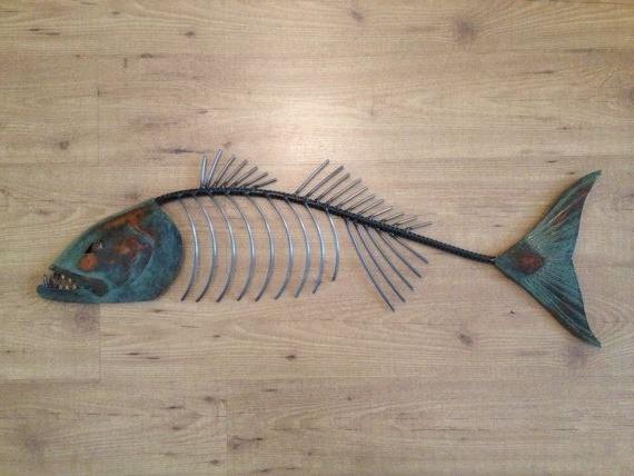 Chops Metal Fish Sculpture Beach Coastal With Fish Bone Wall Art (View 2 of 15)