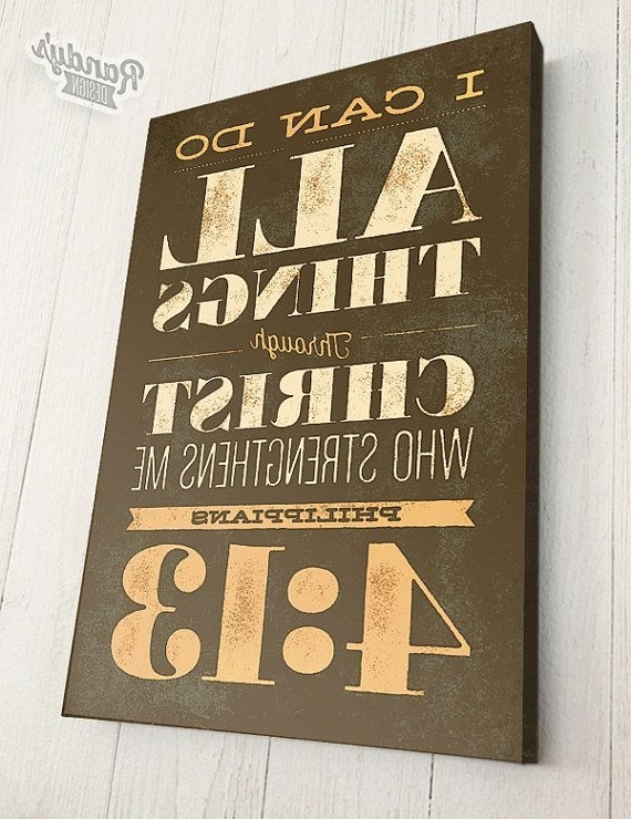 Christian Canvas Wall Art Throughout Current Bible Verse On Canvas, Typography, Scripture Wall Art, Philippians  (View 6 of 15)