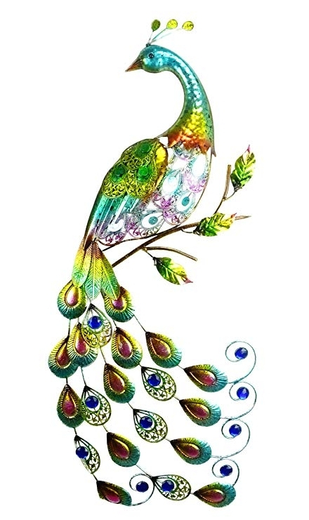 Christmas Concepts® 81Cm Colourful Metal Peacock With Jewel Tail Pertaining To Fashionable Metal Peacock Wall Art (View 4 of 15)