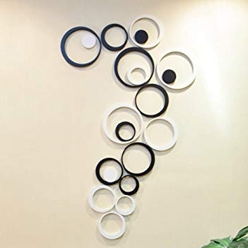 Circles 3D Wall Art Intended For Most Up To Date Amazon: Ca Fashion Decor 5 Circles Ring Indoor 3D Wall Art Home (View 3 of 15)