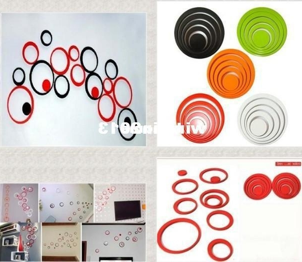 Circles 3D Wall Art Within Most Popular Wholesale Hot Sale Circles Ring Creative Stereo Wall Stickers Mural (View 3 of 15)