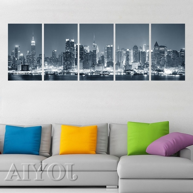 Cityscape Canvas Wall Art For Widely Used New York Cityscape Canvas Print Wall Art City Night Skyline (View 3 of 15)