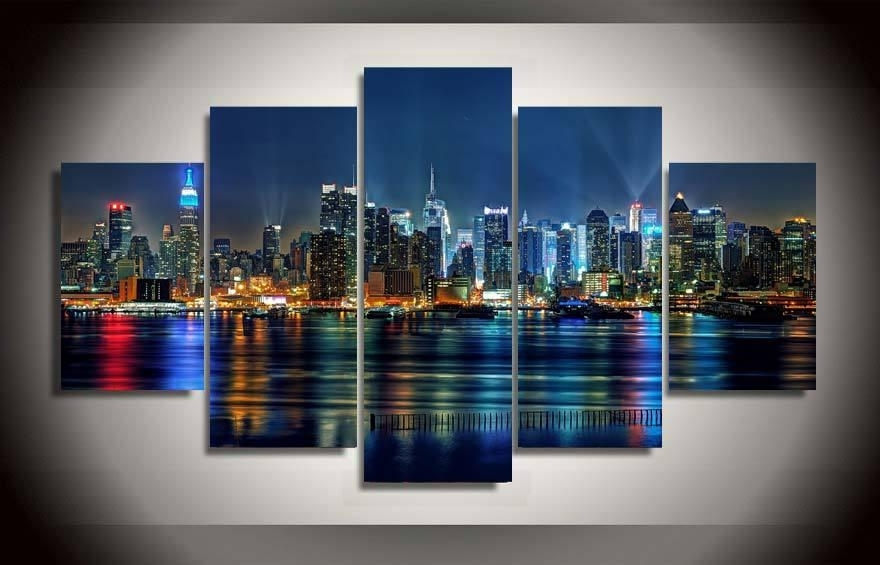 Cityscape Canvas Wall Art In Recent 2018 5 Panel Framed Printed New York City Painting On Canvas Room (View 12 of 15)