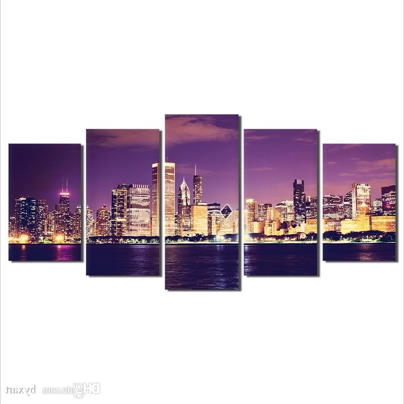 Cityscape Canvas Wall Art Pertaining To Most Recent 2018 Canvas Wall Art, Cityscape Canvas Art Painting 5 Panels Pieces (View 5 of 15)