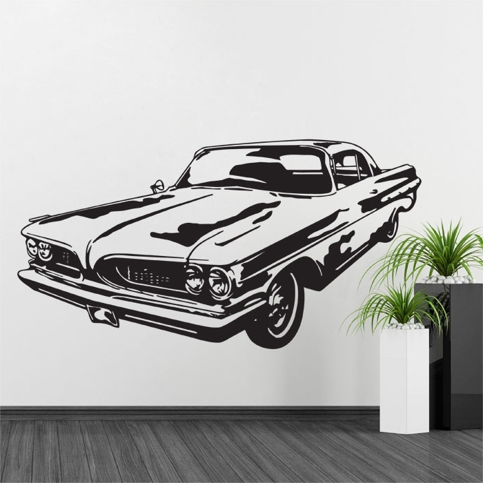 Classic Car Wall Art For Best And Newest 1967 Pontiac Gto Muscle Car Vinyl Wall Decal (View 3 of 15)