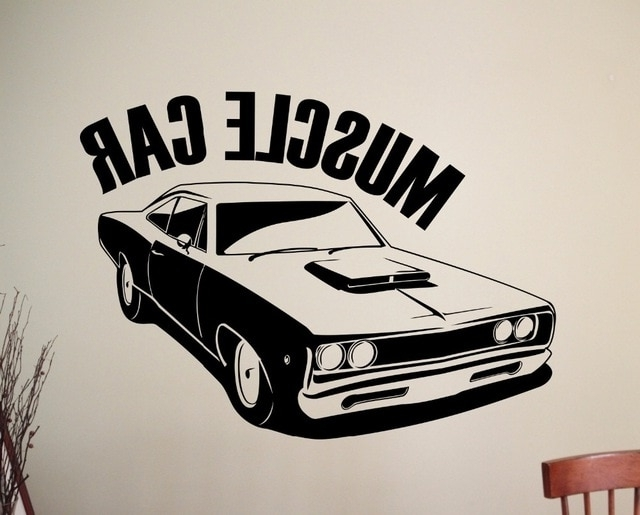Classic Car Wall Art With Preferred Classic Muscle Car Wall Sticker Removable Vinyl Wall Decal Wall Art (View 7 of 15)