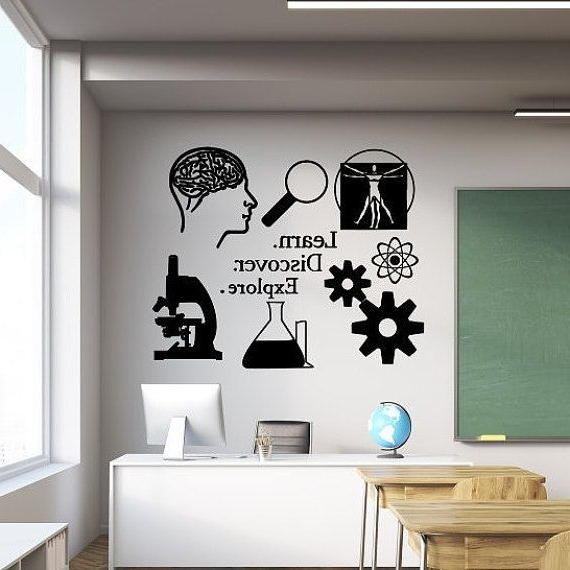 Classroom Wall Decal, Learn Discover Explore, Science Decal With Regard To Trendy Classroom Vinyl Wall Art (View 8 of 15)