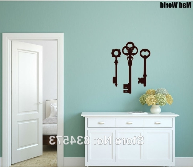 Classy Wall Art Inside Fashionable Mad World Three Keys Classy Silhouette Wall Art Stickers Wall Decal (View 4 of 15)