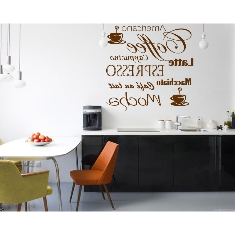 Coffee Latte Mocha Wall Art Decal For Kitchen Wall Decoration (View 9 of 15)