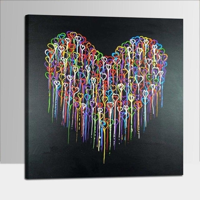 Colorful Abstract Heart Oil Paintings Hand Painted Canvas Paintings Regarding Well Known Abstract Heart Wall Art (View 8 of 15)