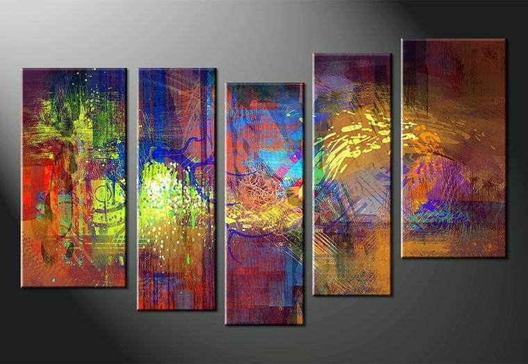 Colorful Abstract Wall Art Intended For Current Modern Abstract Canvas Wall Art Piece Abstract Decor Colorful Oil (View 3 of 15)