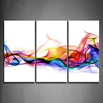 Colorful Abstract Wall Art Pertaining To Best And Newest Amazon: 3 Panel Wall Art Fresh Look Color Abstract Smoke (View 4 of 15)