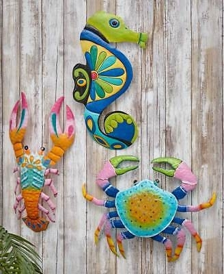 Colorful Crab Lobster Metal Outdoor Wall Art Coastal Seaside Marine With Regard To Favorite Seaside Metal Wall Art (View 2 of 15)