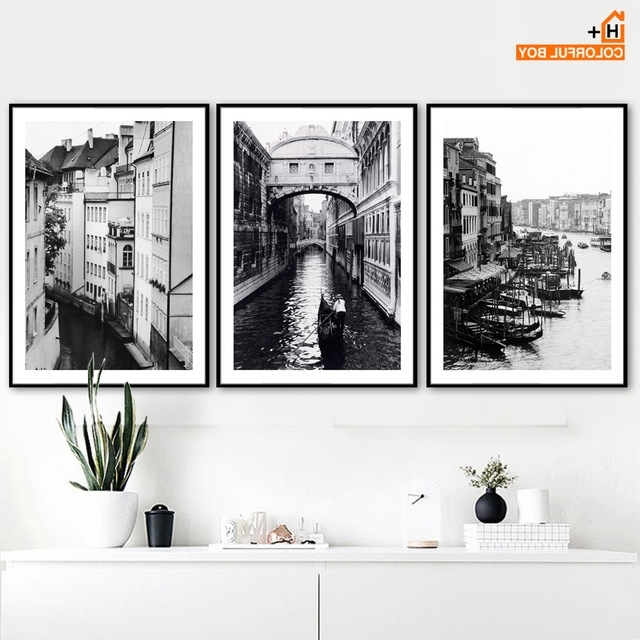 Colorfulboy Paris Building Landscape Wall Art Canvas Painting Black Within Most Popular Black And White Paris Wall Art (View 12 of 15)