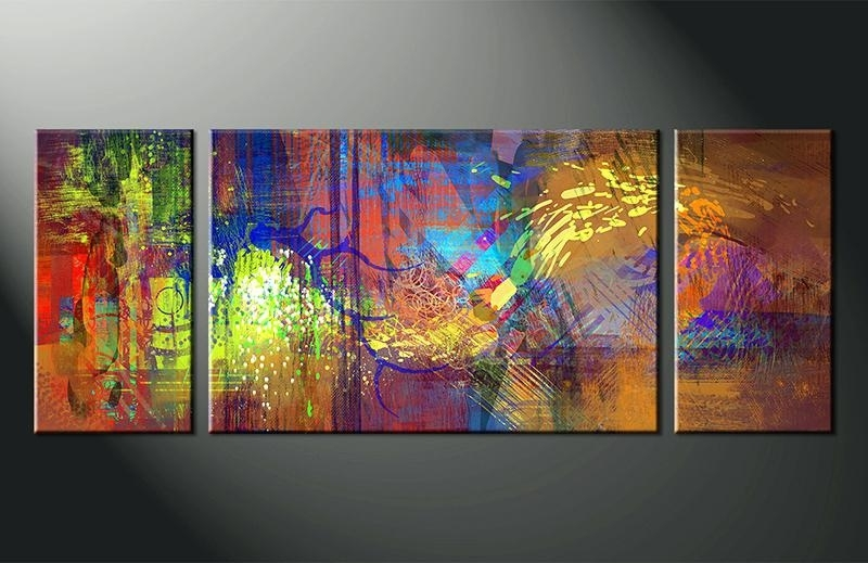 Colourful Abstract Wall Art Pertaining To Recent 3 Piece Abstract Wall Art 3 Piece Wall Art Home Decor Abstract (View 4 of 15)