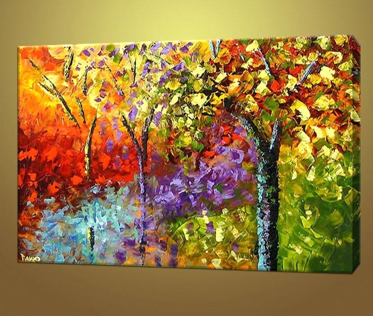 Colourful Abstract Wall Art Regarding Most Recent Colorful Canvas Abstract Wall Art In Wide Frame Abstract Canvas Wall (View 13 of 15)