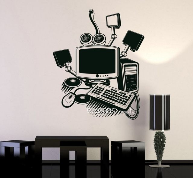 Computer Art Gamer Vinyl Wall Stickers Play Room Pc Kids Sticker Diy In Latest Computer Wall Art (View 1 of 15)