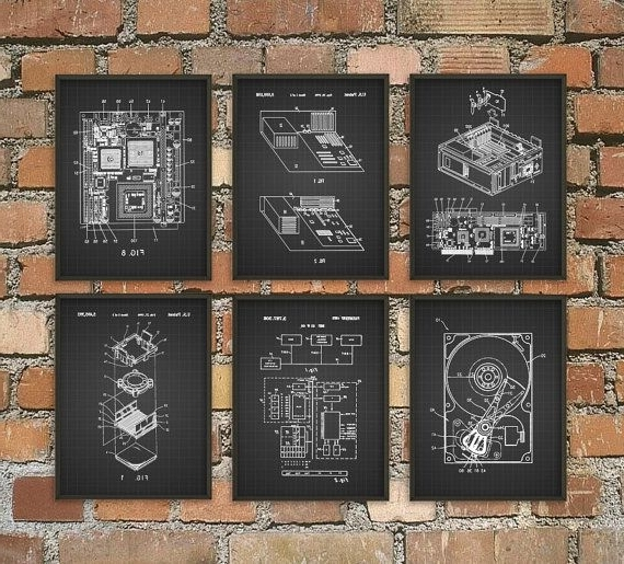 Computer Wall Art Pertaining To Latest Computer Patent Wall Art Poster Set Of 6 – Computer Room Home Decor (View 3 of 15)