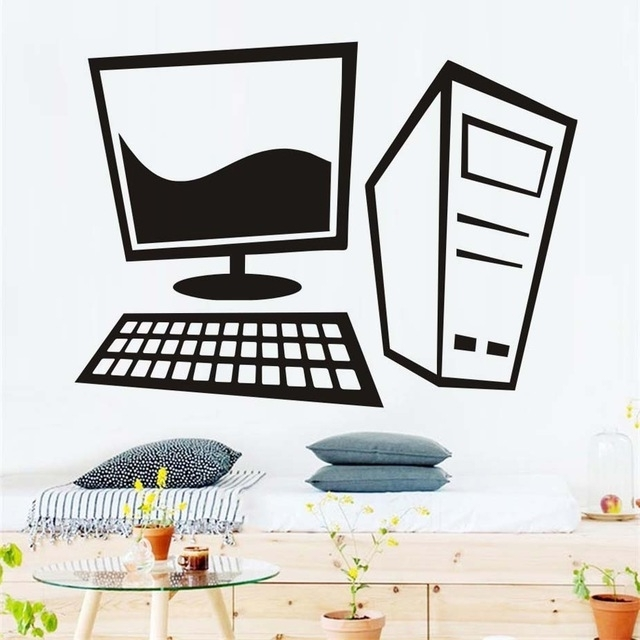Computer Wall Art Regarding Widely Used Simple Design Cartoon Computer Wall Sticker Vinyl Removable Wall (View 4 of 15)