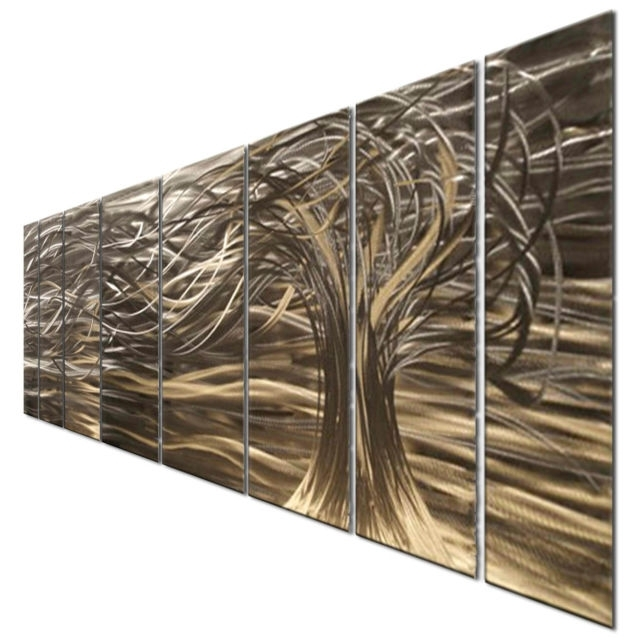 Contemporary 7 Panel Metal Wall Art Sculpturesash Carl Home Within 2018 Ash Carl Metal Wall Art (View 7 of 15)