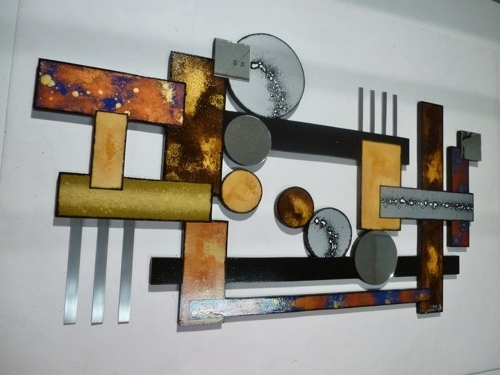 Contemporary Geometric Abstract Wood Metal Mirror Wall Sculpture Within 2017 Sculpture Abstract Wall Art (View 9 of 15)