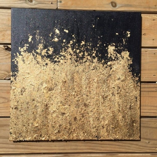 Contemporary Gold Leaf Painting – Original Abstract Modern Pertaining To 2018 Black And Gold Abstract Wall Art (View 3 of 15)