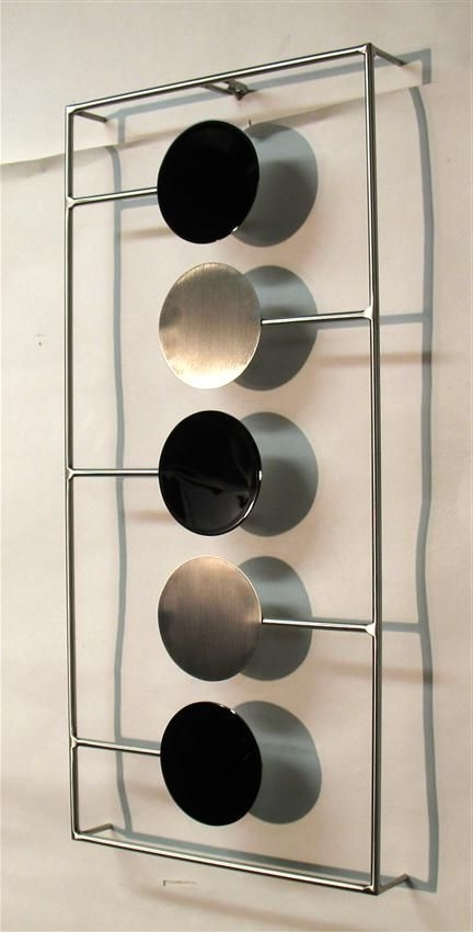 Contemporary Metal Wall Art Sculpture – Gloss Black And Brushed Intended For Newest Contemporary Metal Wall Art Sculpture (View 4 of 15)