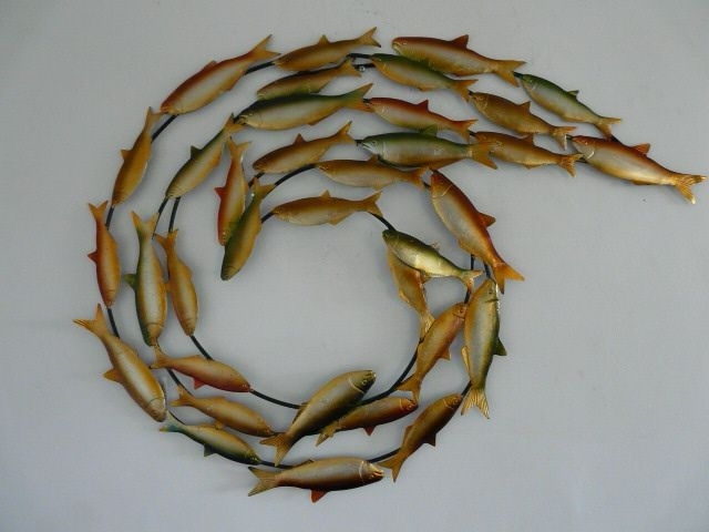 "Contemporary Metal Wall Art ""swirling Fish Shoal With Shoal Of Fish Metal Wall Art (View 1 of 15)"