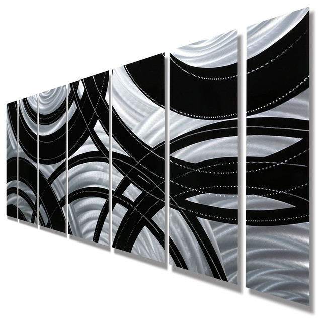 """Contemporary Silver And Black Panel Metal Wall Art, """"crossroads Throughout Most Up To Date Black Silver Wall Art (View 5 of 15)"""