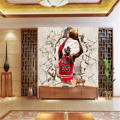 Corridor Of 3D Nba Basketball Star Jordan Gym Background Wallpaper For Most Up To Date Nba Wall Murals (View 3 of 15)