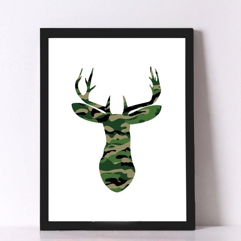 Cotill Camouflage Deer Head Canvas Picture On The Wall Art Poster Pertaining To Well Known Camouflage Wall Art (View 8 of 15)