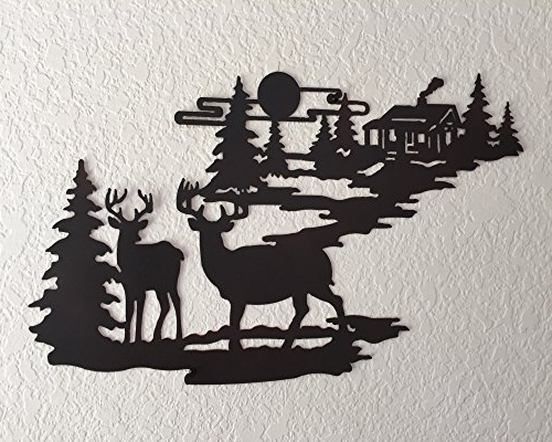 Country Metal Wall Art Pertaining To Fashionable Cabin Ironworks Deer And Lodge In Woodlands Metal Wall Art – Rustic (View 10 of 15)
