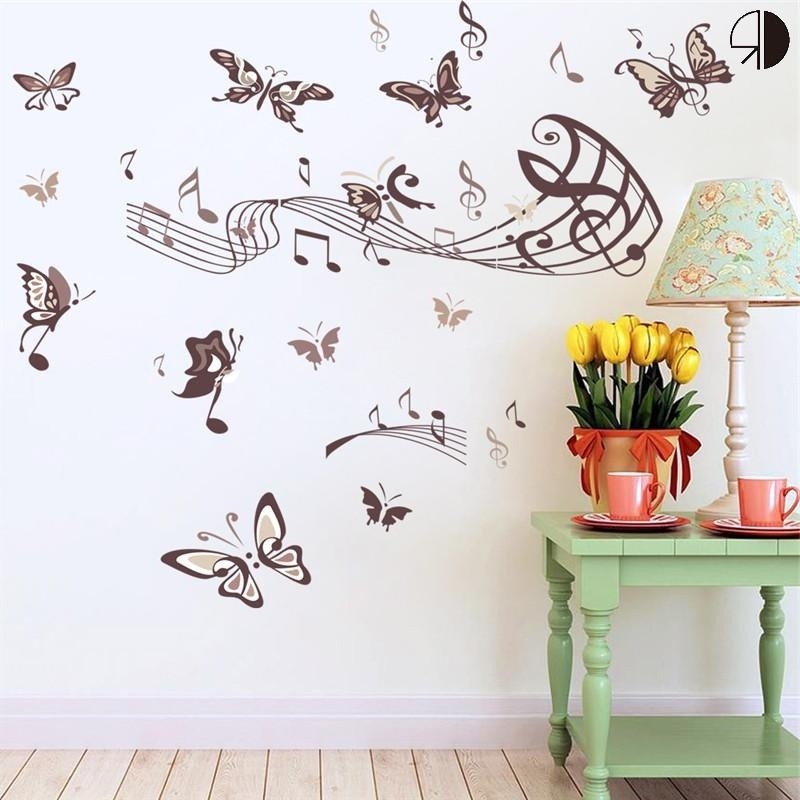 Creative Home Decor Butterfly Music Note Wall Stickers Removable Pvc In 2018 Music Note Wall Art Decor (View 1 of 15)