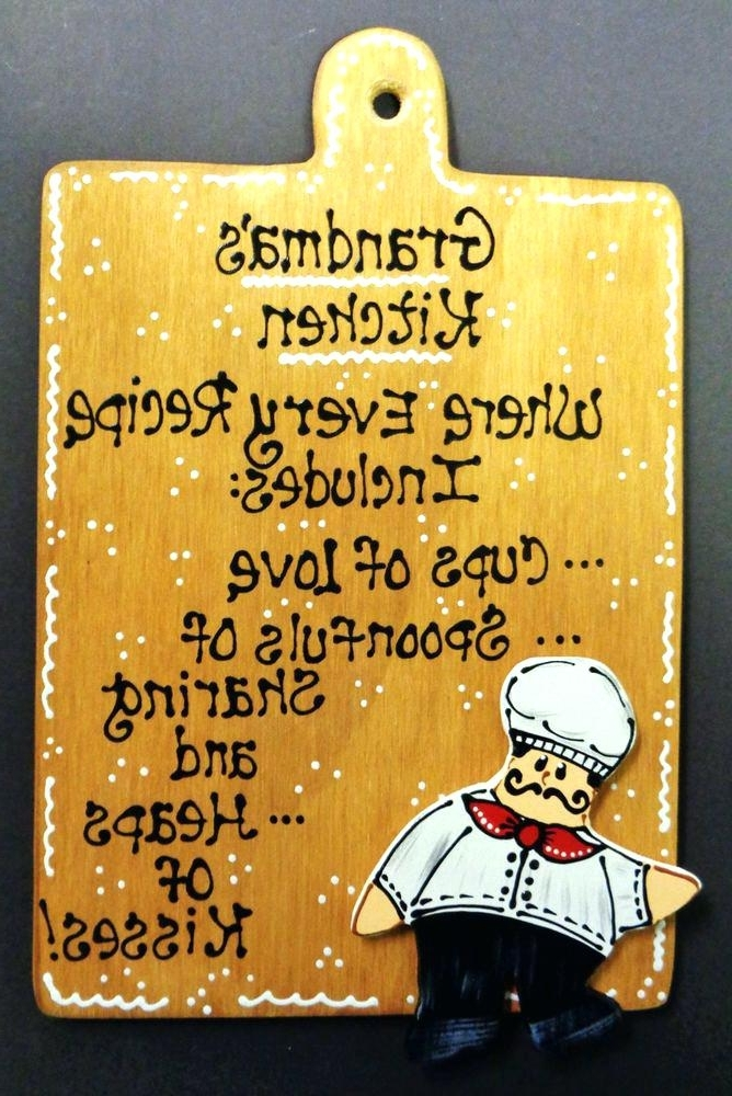 Cucina Wall Art Decors In Best And Newest Cucina Wall Art Fat Chef Sign Grandmas Kitchen Plaque Wall Art (View 3 of 15)