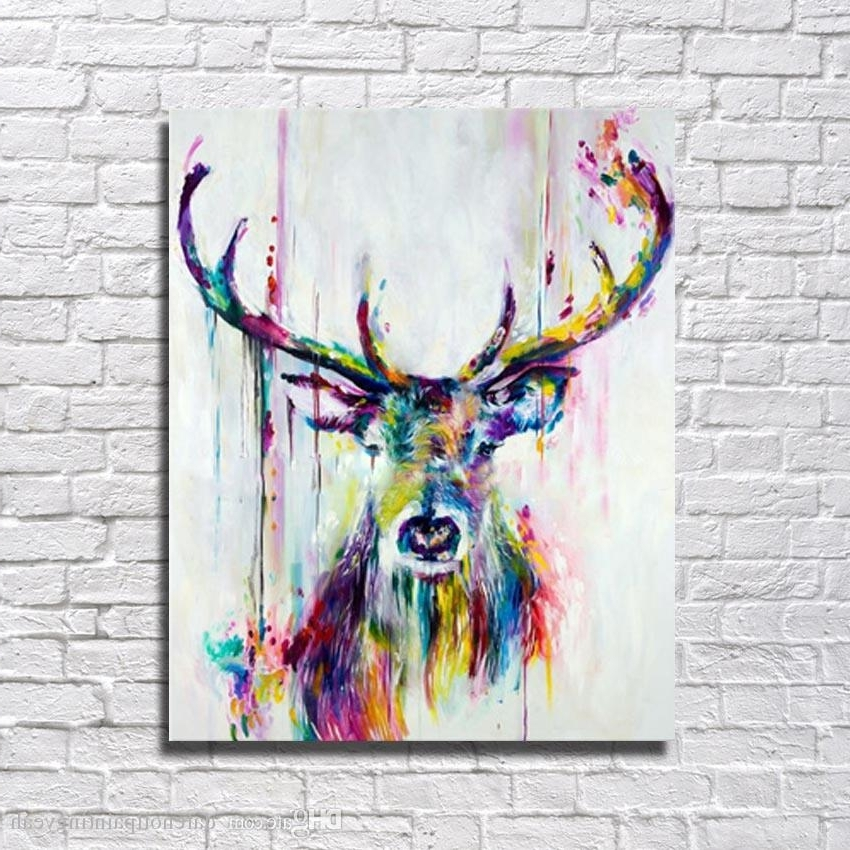 Current 2018 1Peices Wall Canvas Art Abstract Deer Painting Living Room Wall Throughout Abstract Animal Wall Art (View 11 of 15)