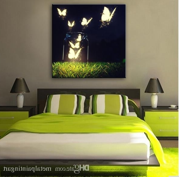 Current 2018 Butterfly In The Air Abstract Wall Art Led Canvas Spray For Abstract Wall Art For Bedroom (View 2 of 15)
