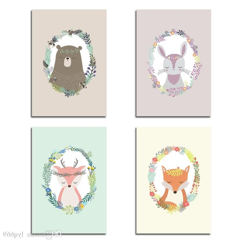 Current 2018 Kawaii Animal Flower Nursery Canvas Art Painting Cartoon Rabbit Pertaining To Nursery Canvas Art (View 4 of 15)