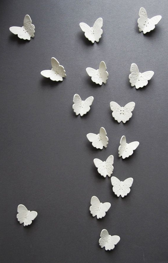 Current 3D Butterfly Wall Art Set Of 6 Original Porcelain Ceramic Sculptures In Ceramic Butterfly Wall Art (View 8 of 15)