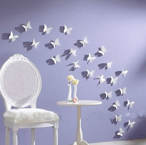 Current 3D Removable Butterfly Wall Art Stickers Intended For Butterfly Wall Art: 12Pcs/pack White Pvc 3D Decorative Butterflies (View 7 of 15)