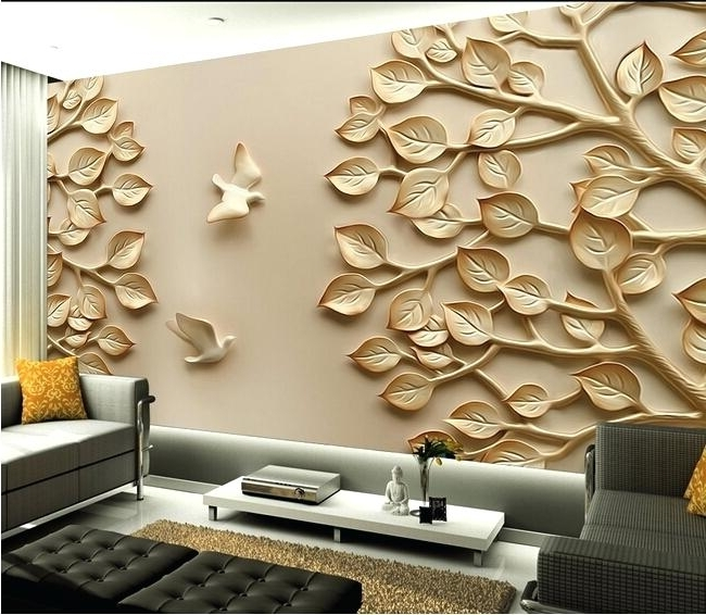 Current 3D Wall Art Decor Hot Mirror Wall Stickers Quote Flower Vase Metal For 3D Wall Art For Living Room (View 13 of 15)