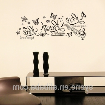 Current 3D Wall Art Words Regarding 3D Wall Sticker Butterfly Art Vinyl Quotes Live Laugh Love Wall (View 3 of 15)