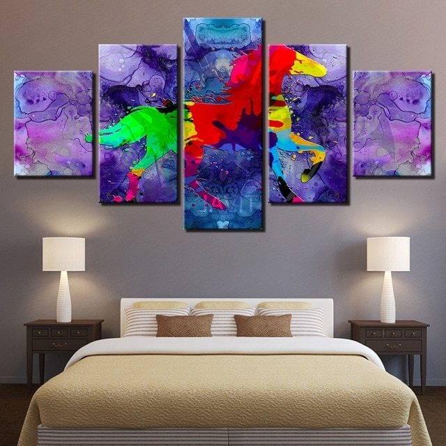 Current 5 Pieces Colour Abstract Horse Poster Wall Art Watercolor Animal Regarding Abstract Horse Wall Art (View 5 of 15)