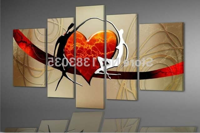 Current Abstract Heart Wall Art Throughout Handmade With Love Wall Painting On Canvas 5 Piece Abstract Heart (View 9 of 15)