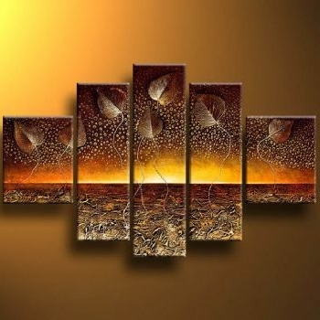 Current Abstract Horizon Wall Art Inside Horizon And Leaves Modern Canvas Art Wall Decor Abstract Oil (View 5 of 15)