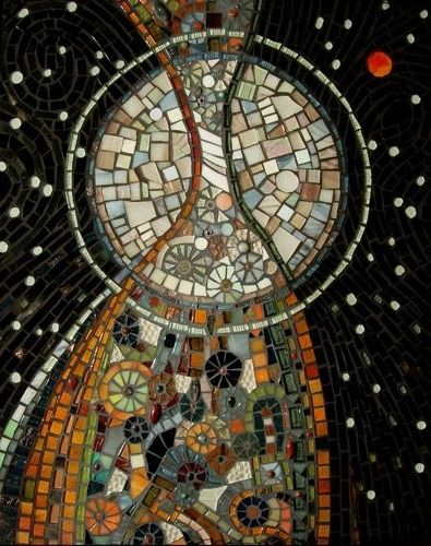 Current Abstract Mosaic Art On Wall Throughout Nightmusic Glass, Semi Precious Stones, Beads And Ceramic Pieces (View 6 of 15)